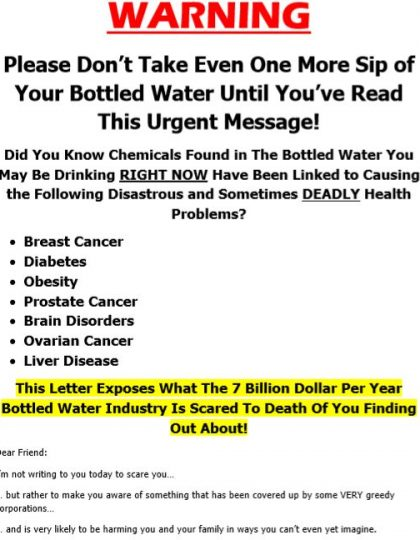 Direct Mail Sales Letter for Alkaline Water Distributor