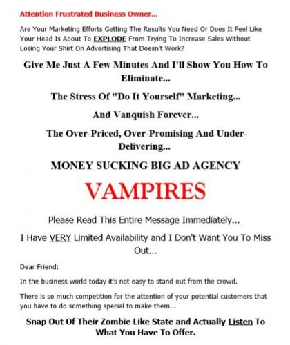 Direct Mail Sales Letter for Local Ad Agency