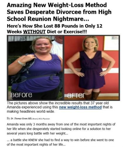 Advertorial for Weight-loss Product