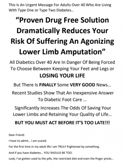 Direct Mail Sales Letter for Diabetic Sock