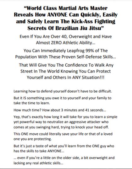 Martial Arts Sales Letter