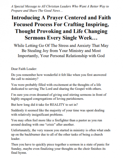 Sales Letter for Online Christian Course
