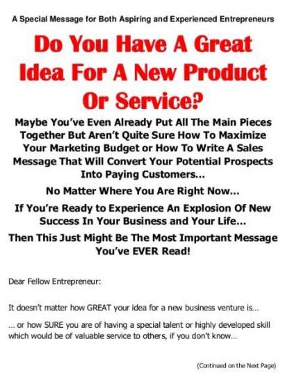 New Idea Sales Page